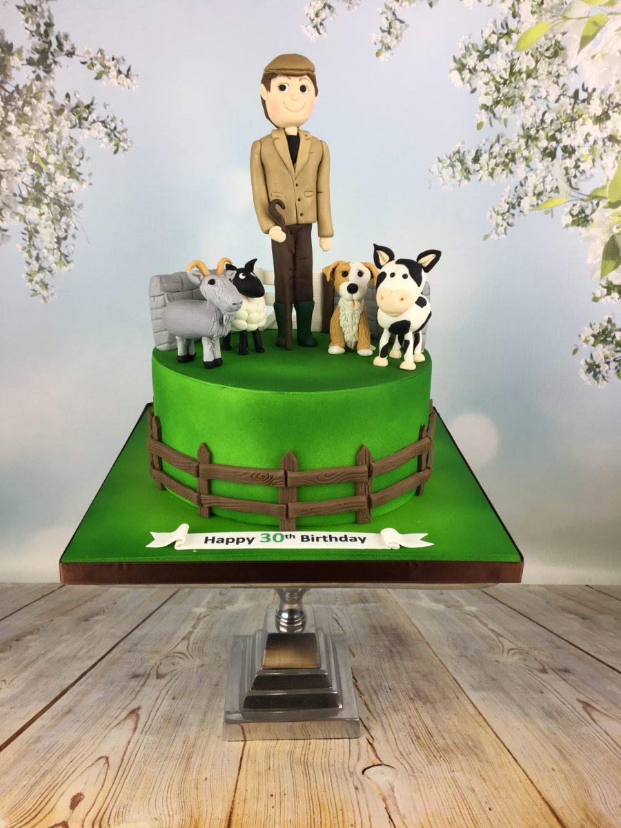 Farmer Cake Topper Farm Animals Toppers Birthday