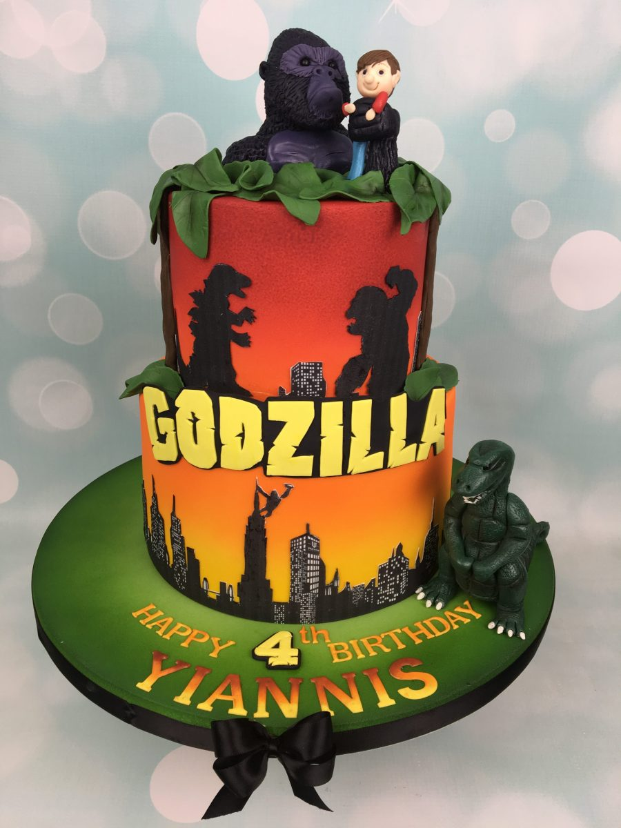 Godzilla and King Kong Birthday Cake and Cupcakes - Mel's Amazing Cakes