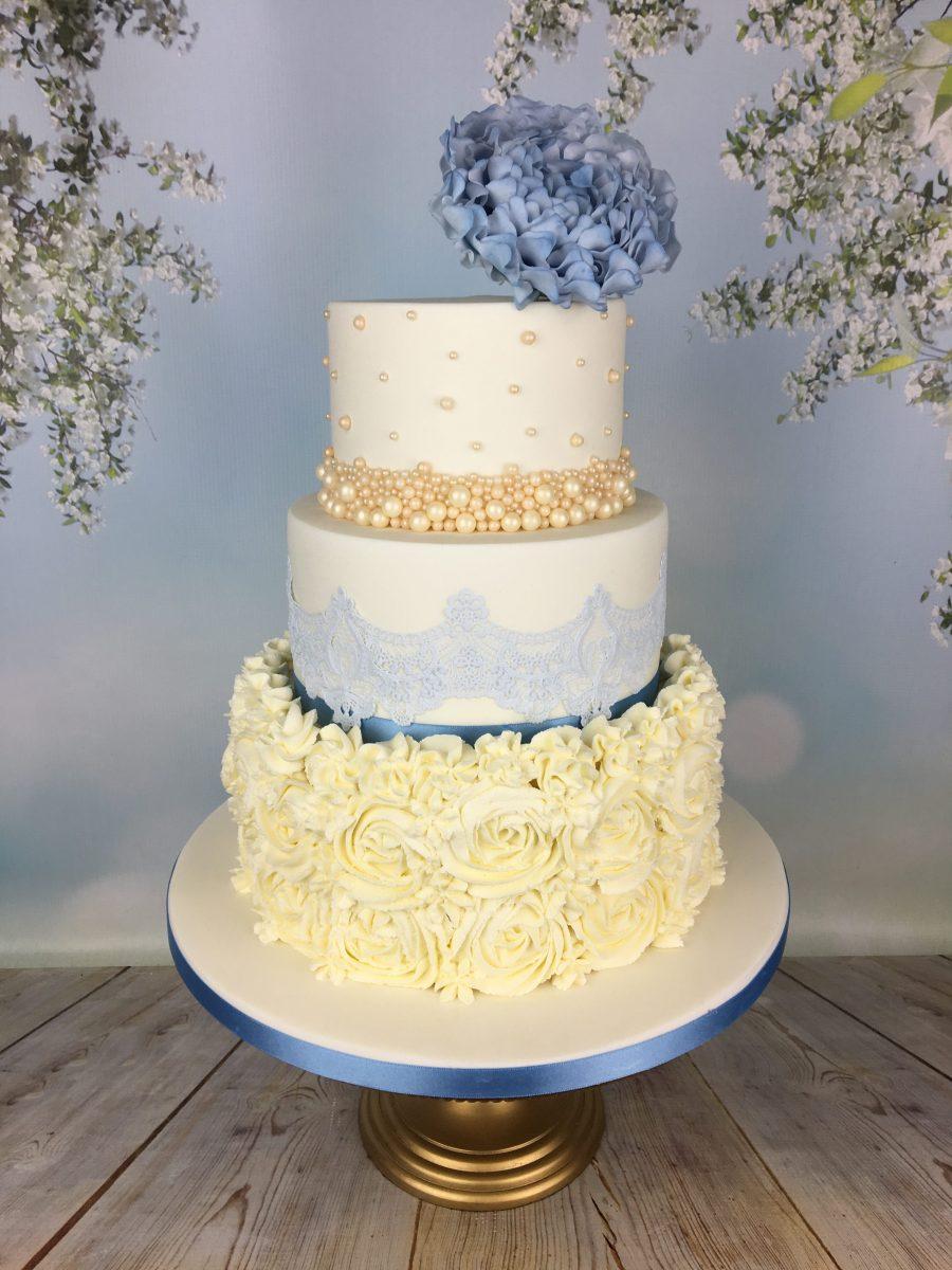 Blue And Cream Buttercream Rosette Wedding Cake Mel S