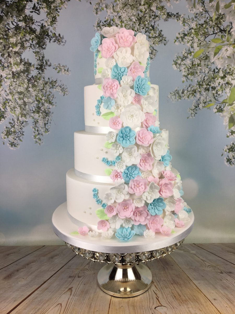 Pastel Blue And Pink Blossoms Wedding Cake Mels Amazing Cakes