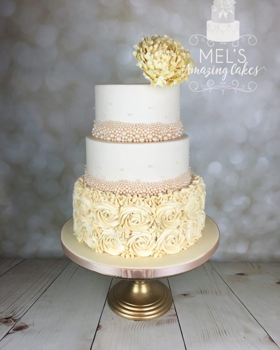Sugar peony wedding cake