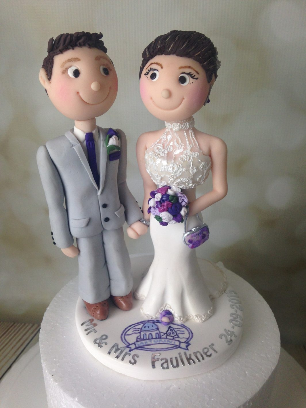 Cake Topper Polymer Clay Bride And Groom Wedding