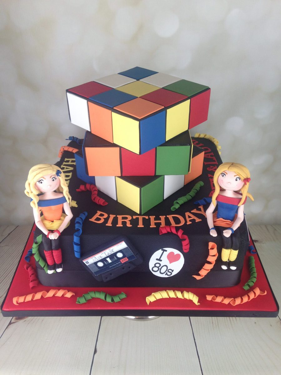 80 S Themed Rubik S Cube Birthday Cake Mel S Amazing Cakes