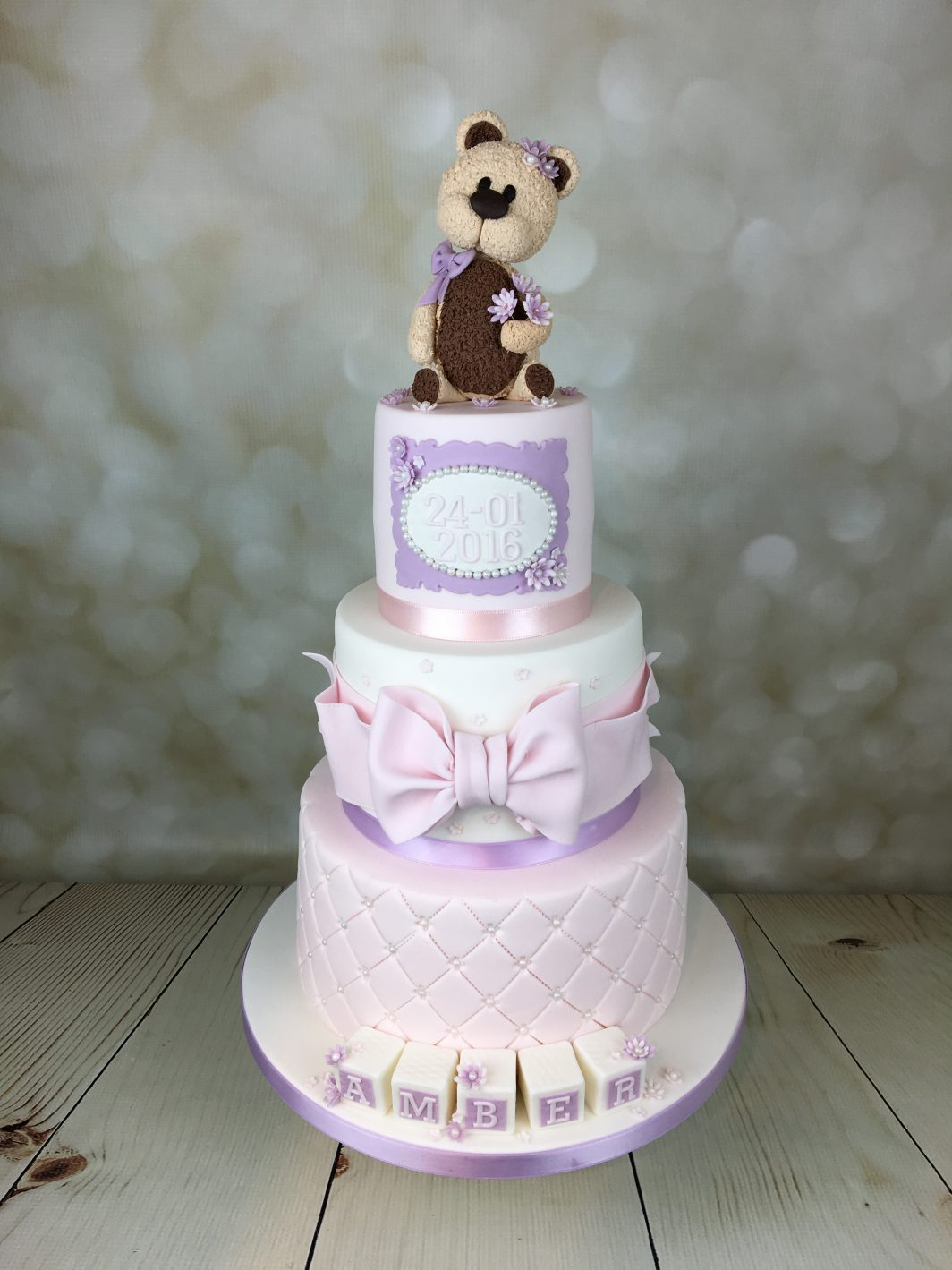 Christening Cake Lilac And Pink With Teddy Bear Topper