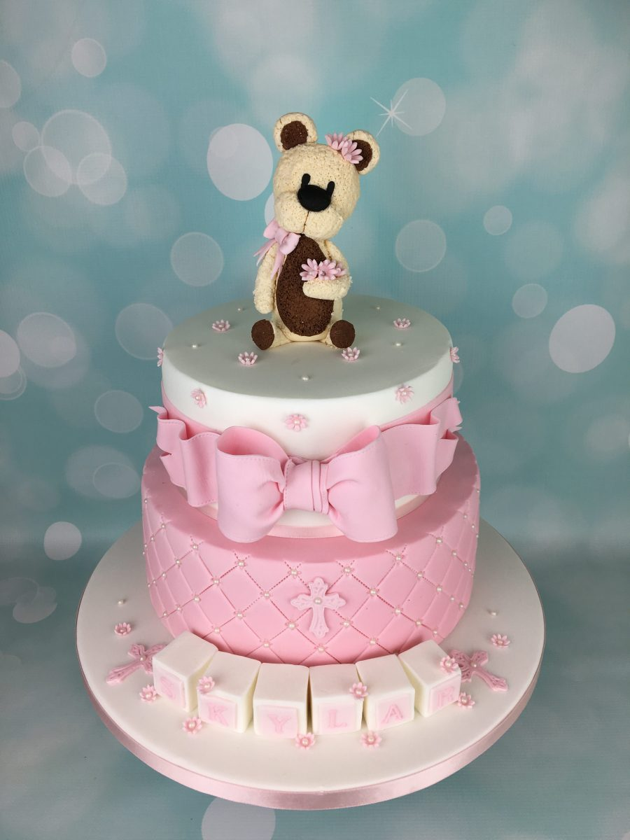 Pink Christening Cake With Teddy Bear Topper Mel S