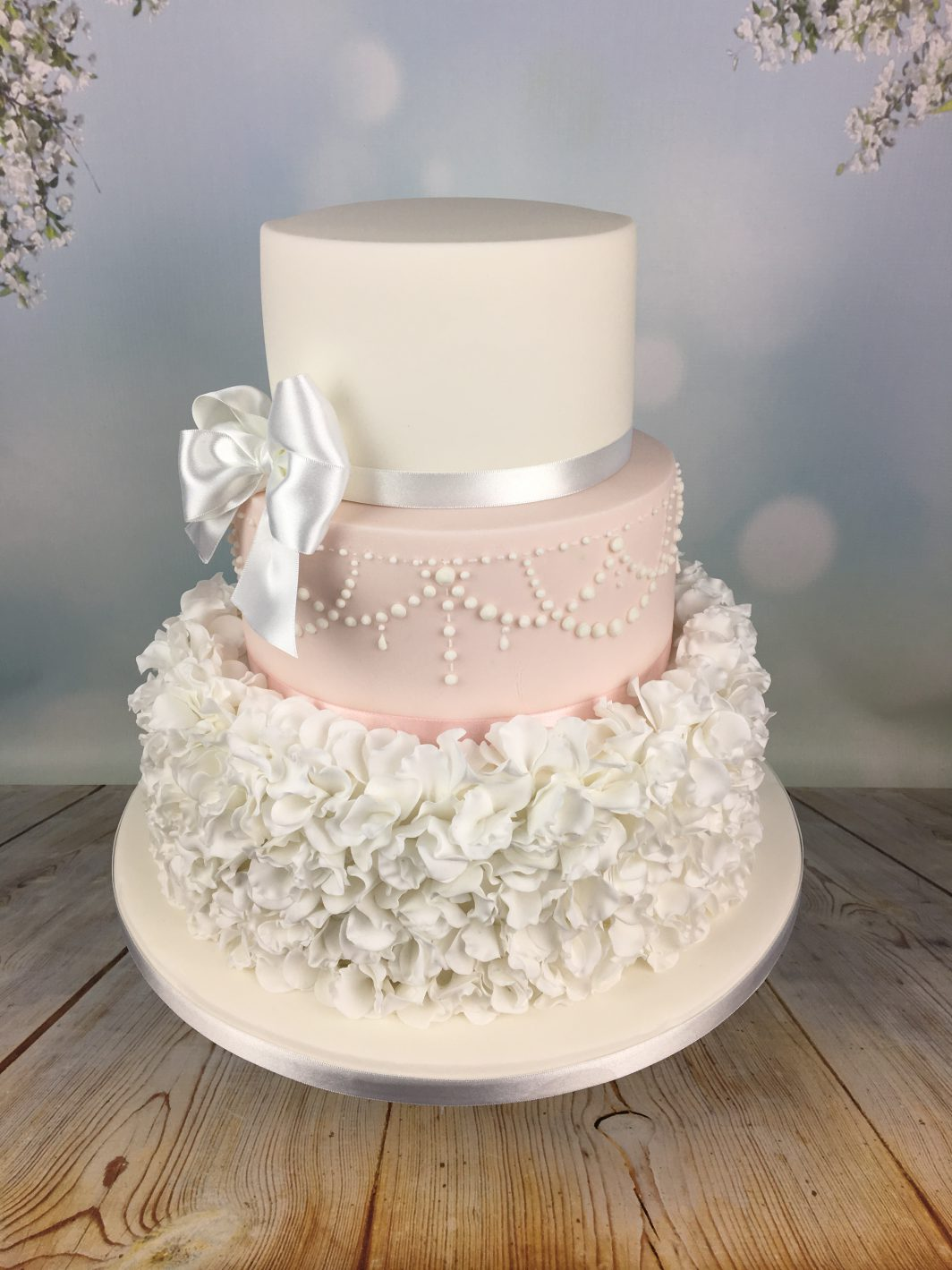 Pink And White Sugar Ruffles Wedding Cake - Mel\'s Amazing Cakes