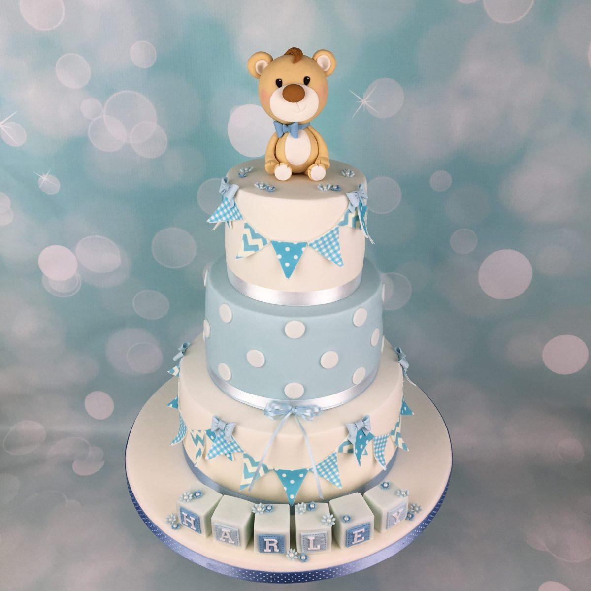 Baby Blue Teddy Bear Topper Christening Cake Mel S