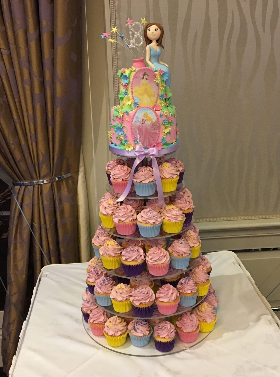 Disney Princess Cupcake Tower 18th Birthday Cake