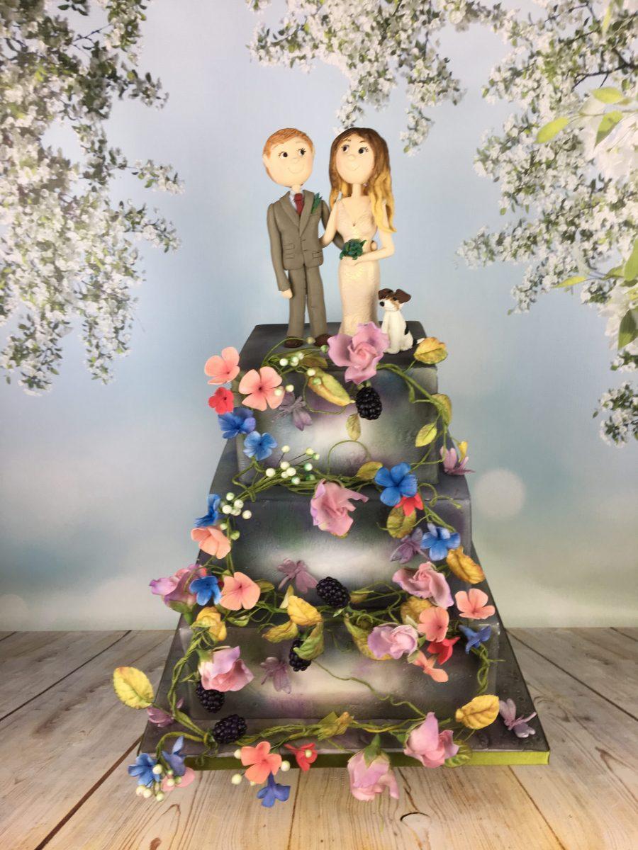 Woodland Flowers Square Wedding Cake Mel S Amazing Cakes