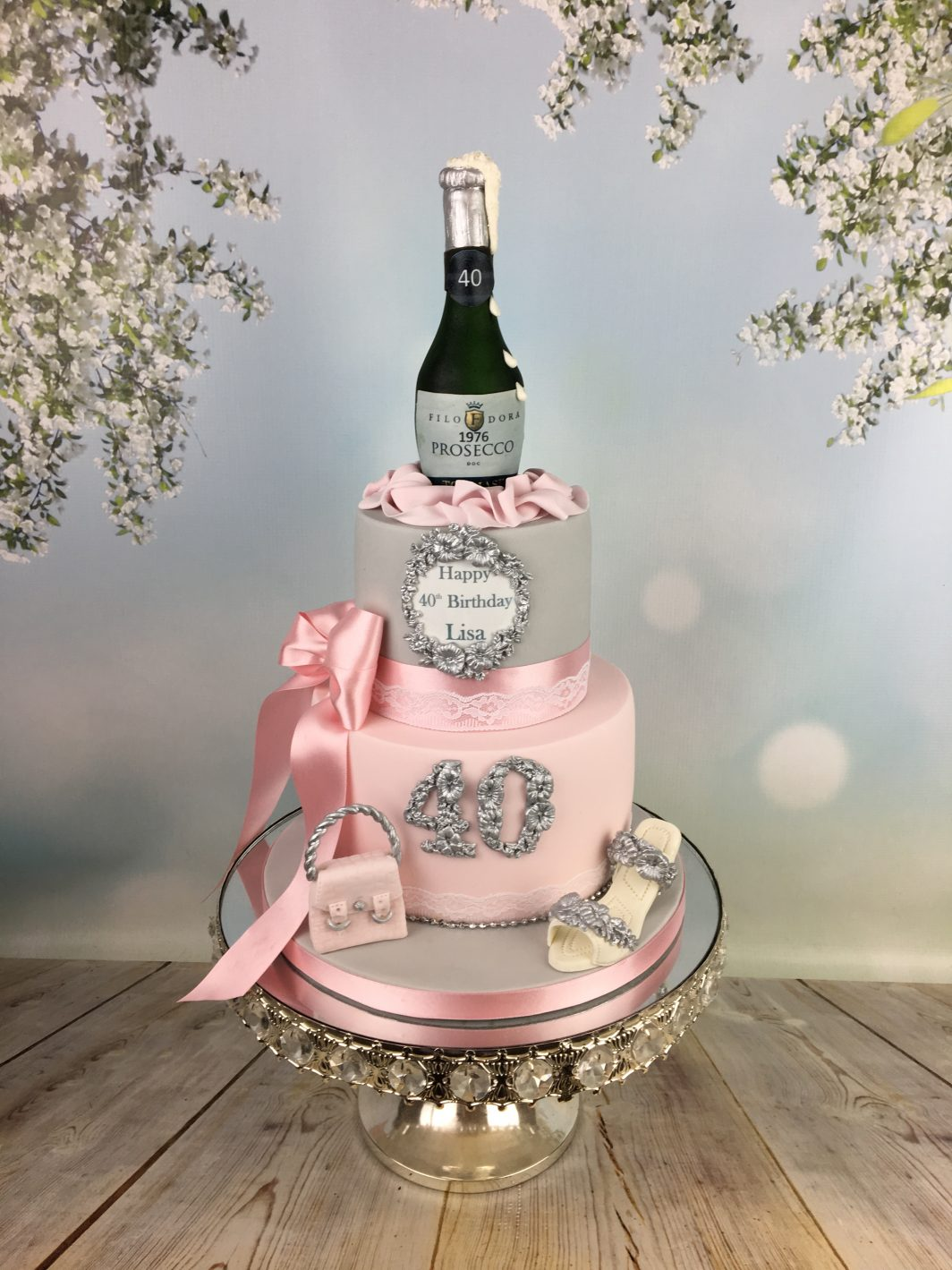 Pink and silver cake