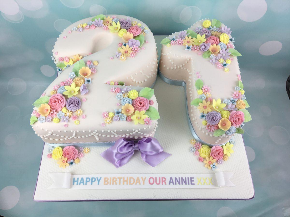 21 shaped cake