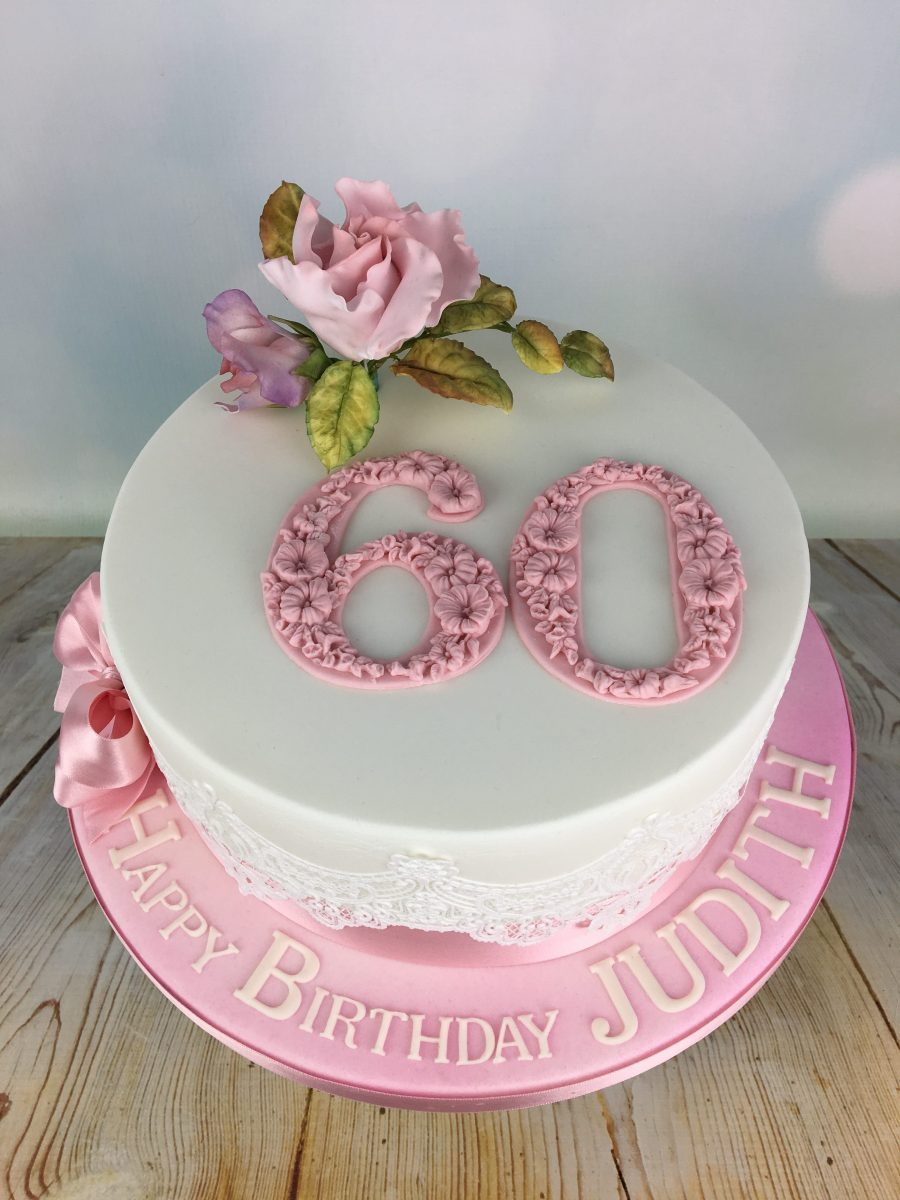 Pink Roses 60th Birthday Cake