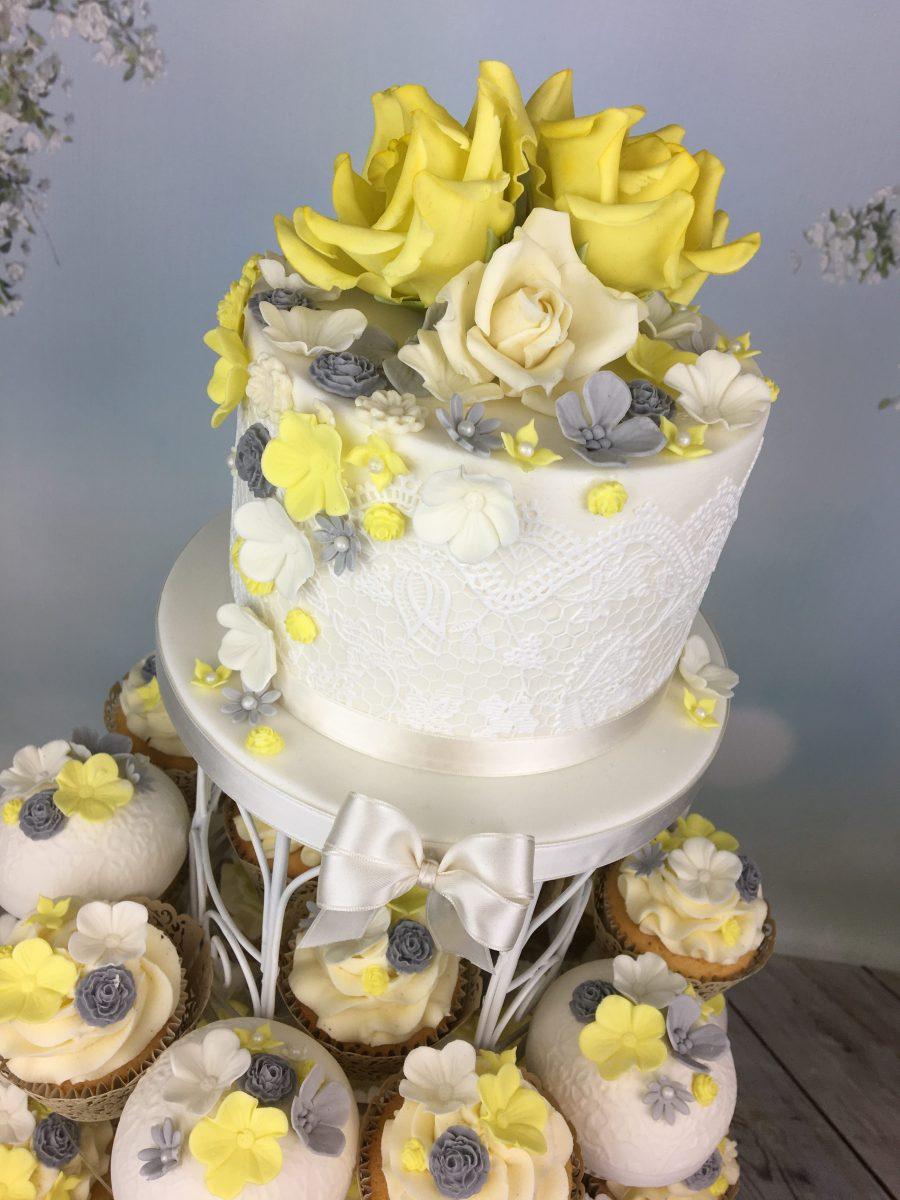 Lemon and grey cupcake tower wedding cake - Mel\'s Amazing Cakes