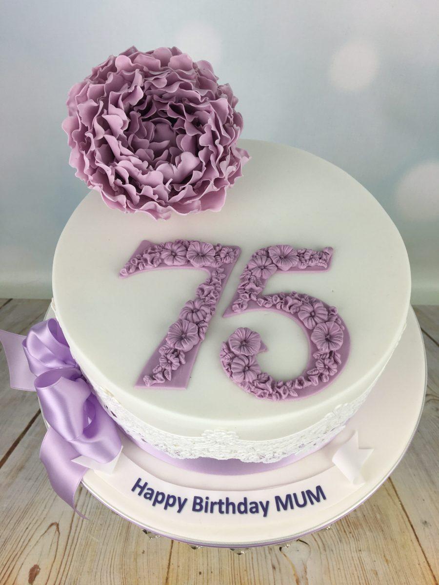 Lilac Peony 75th Birthday Cake