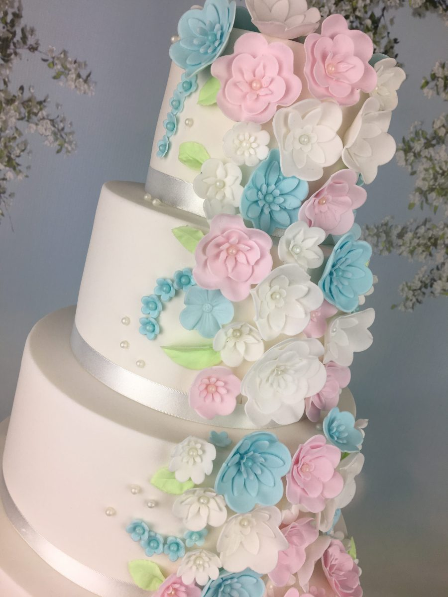 pandacookiss: Baby blue and pink wedding cake theme! :D |Pink And Blue Wedding Cakes
