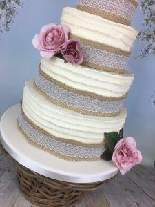 hessian and lace wedding cake