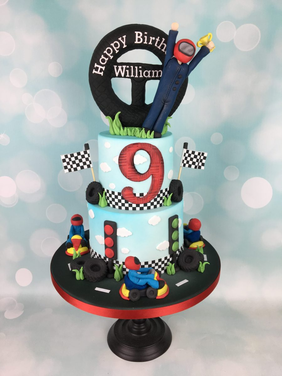 Super Go Karting 9Th Birthday Cake Mels Amazing Cakes Personalised Birthday Cards Sponlily Jamesorg