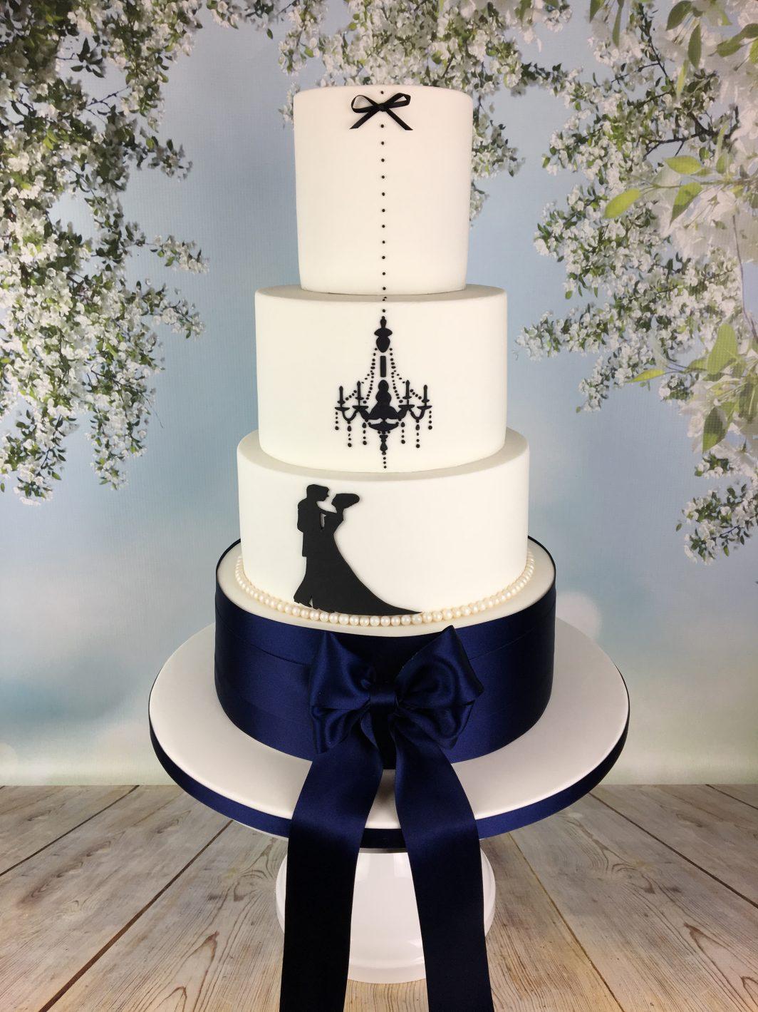 navy blue and white silhouette wedding cake - Mel\'s Amazing Cakes