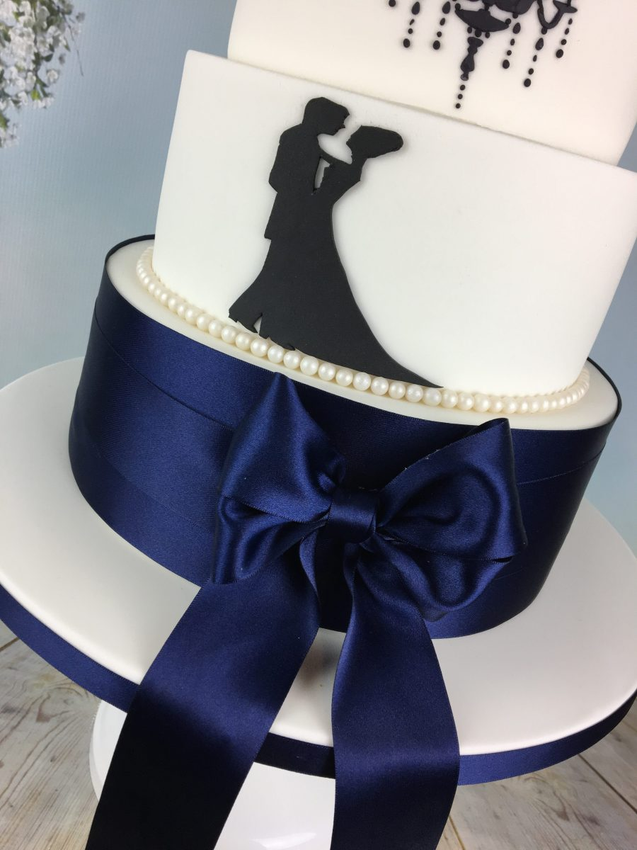 Navy Blue And White Silhouette Wedding Cake Mel S