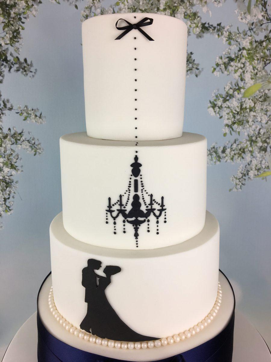 Navy Silhouette Wedding Cake