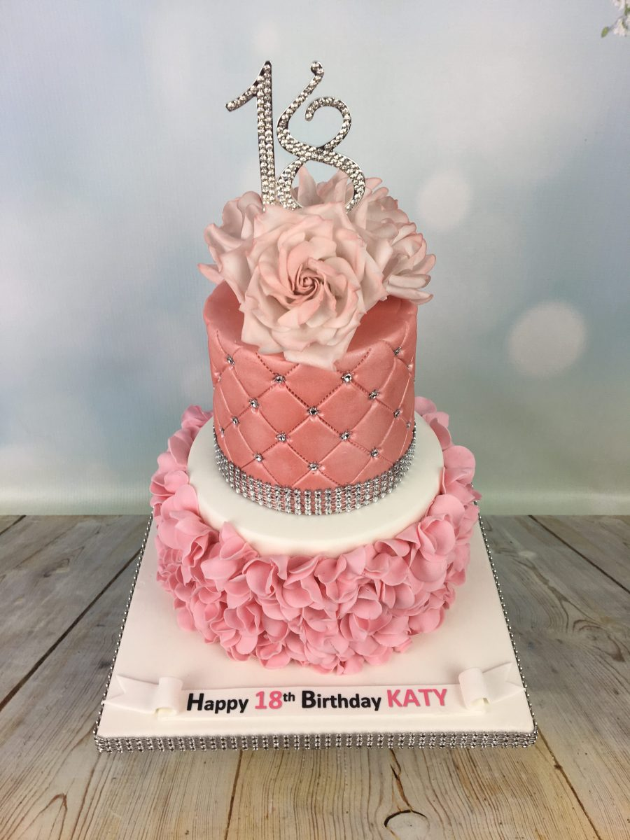 Groovy Ruffles And Roses 18Th Birthday Cake Mels Amazing Cakes Personalised Birthday Cards Veneteletsinfo