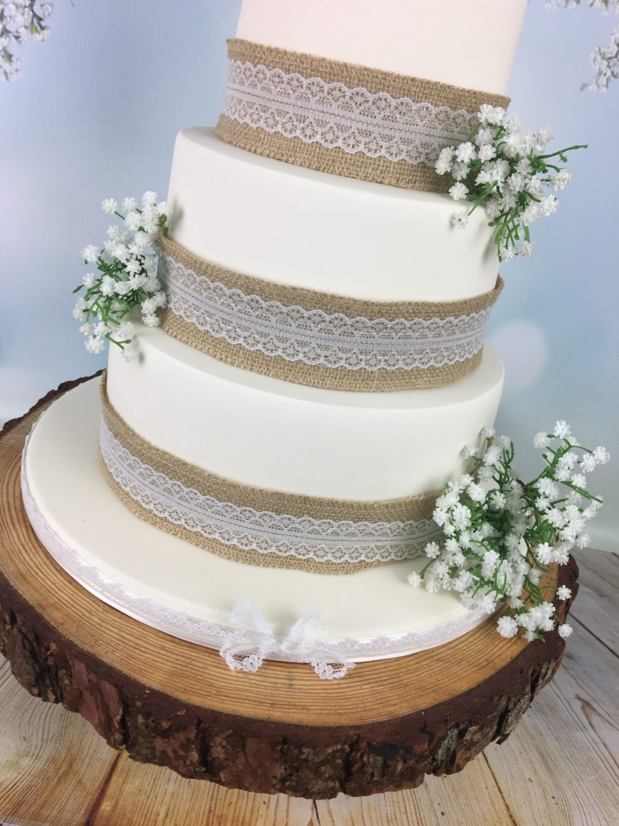 Hessian and lace wedding cake with bride and groom topper - Mel\'s ...