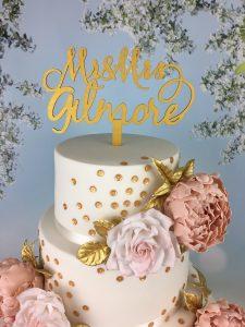 gold monogram wedding cake topper