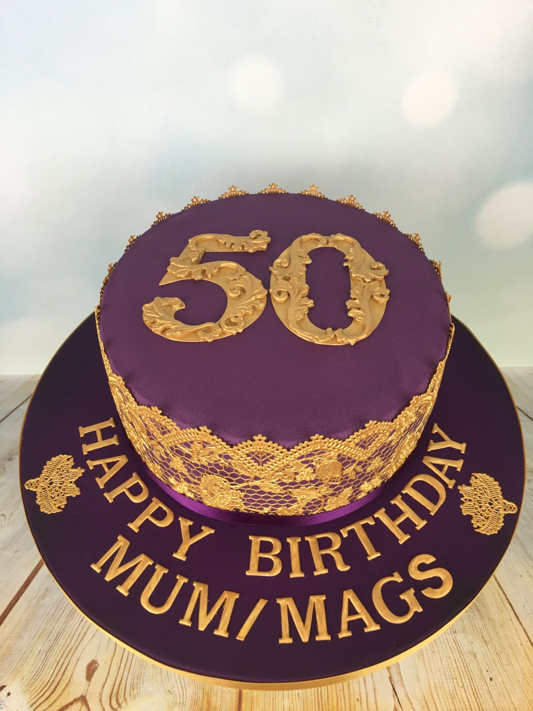 Purple And Gold 50th Birthday Cake Mels Amazing Cakes
