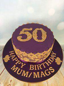 gold lace birthday cake
