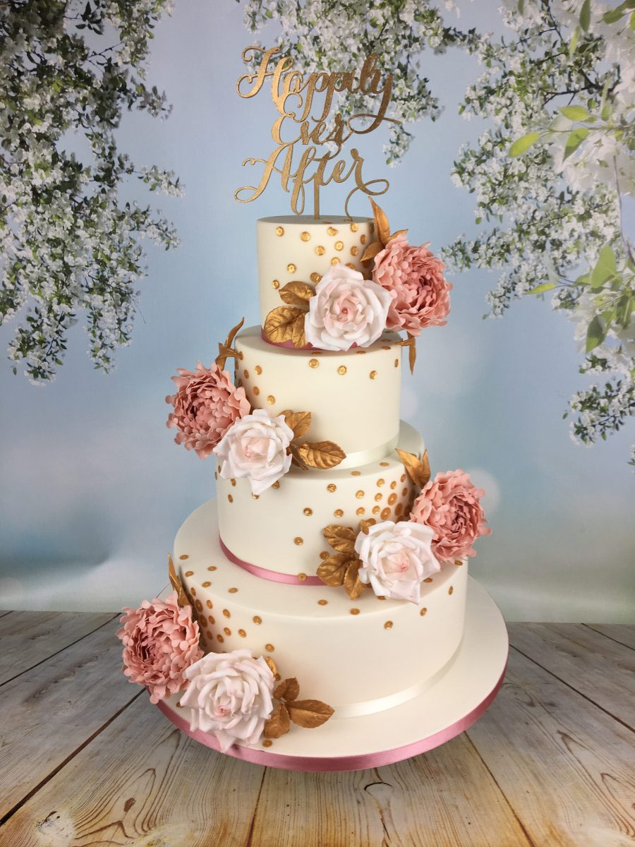 pink and gold wedding cake roses and gold sequins wedding cake mel s amazing cakes 18539