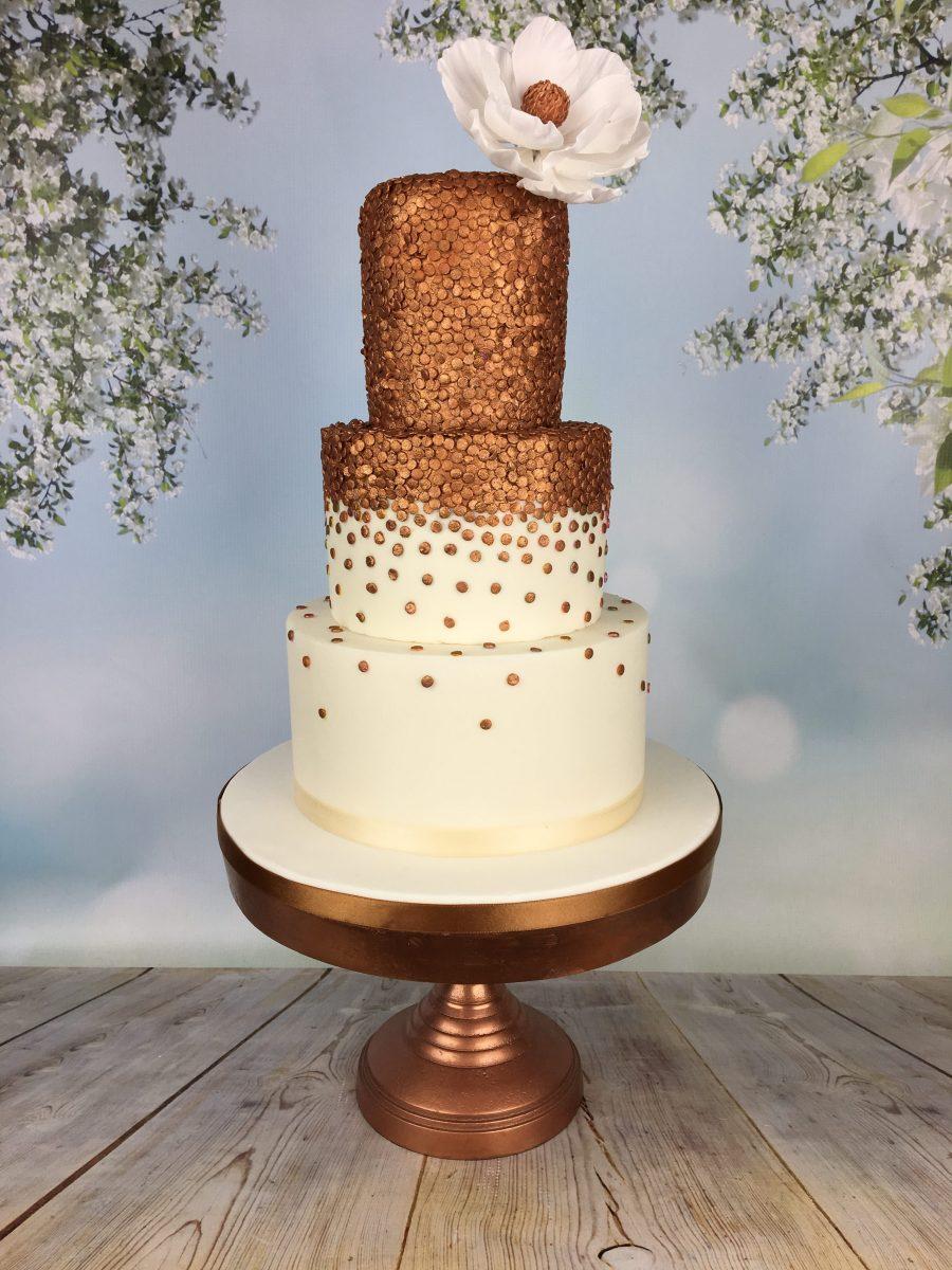 Bronze sequins wedding cake - Mel's Amazing Cakes