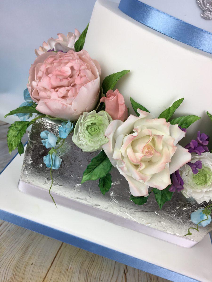romantic silver lock wedding cake - Mel's Amazing Cakes