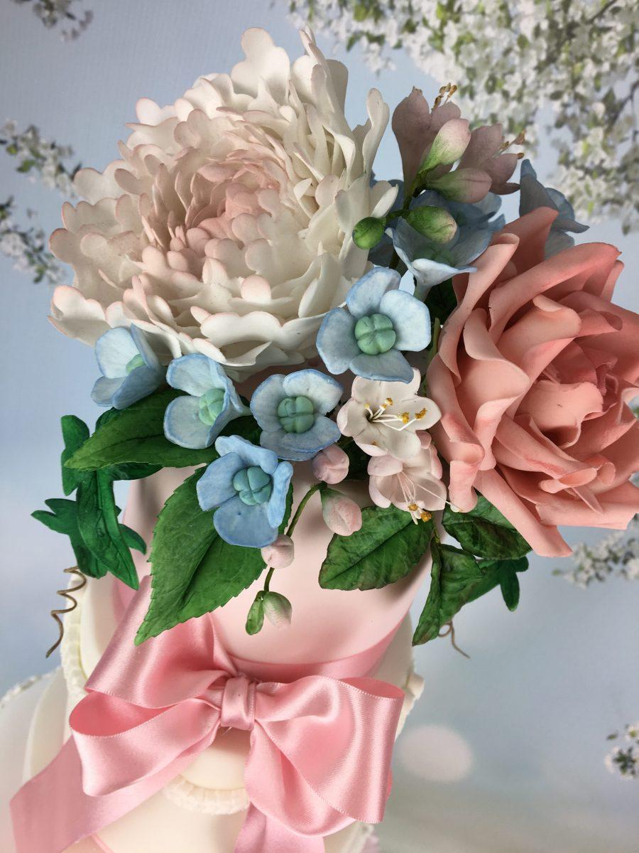 pink ruffles wedding cake with sugar flowers - Mel's ...
