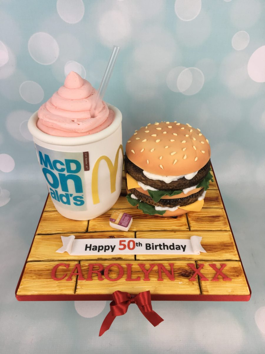 Magnificent Mcdonalds Burger Cake Mels Amazing Cakes Birthday Cards Printable Nowaargucafe Filternl