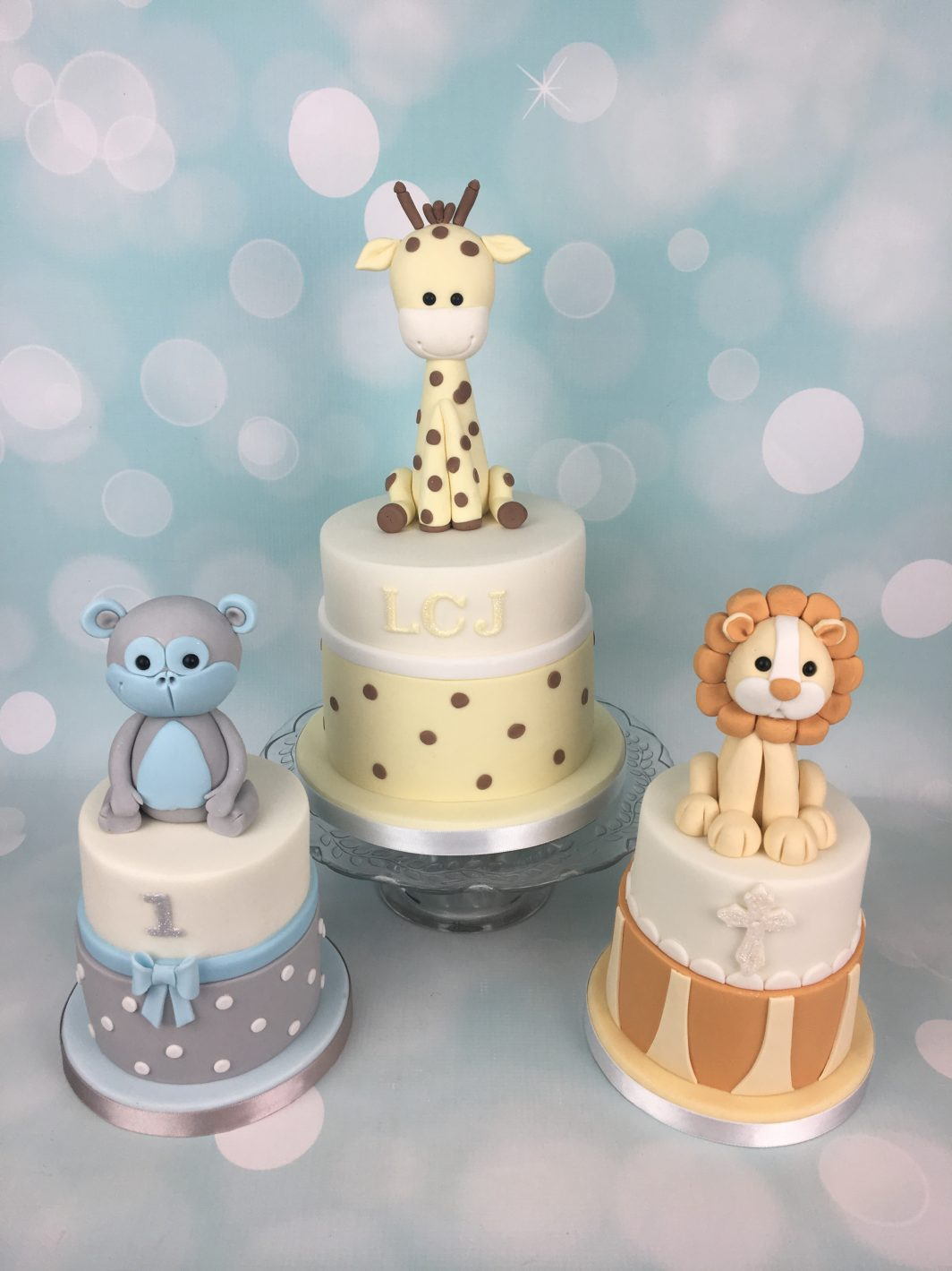 Cute animals christening cake