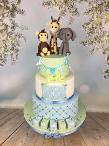 blue and green christening cake