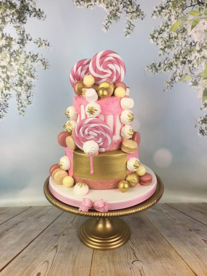 Gold And Pink Lollipop Cake Mels Amazing Cakes