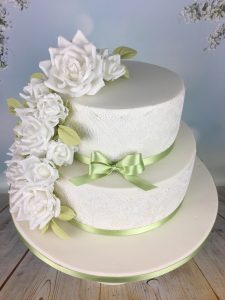 white and green wedding cake