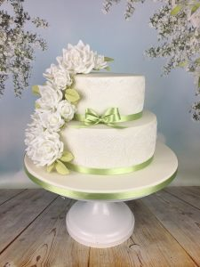 white and mint green cake