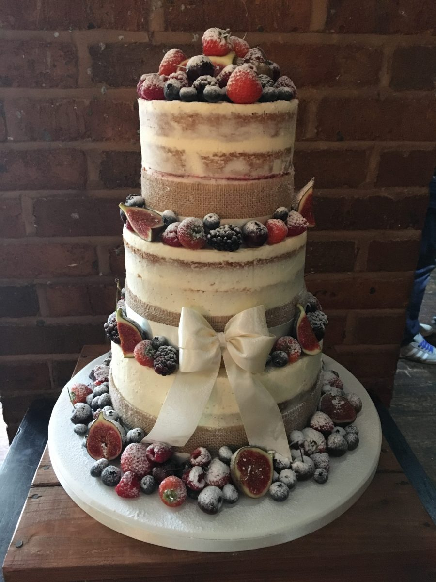 exposed wedding cake semi wedding cake with berries and fruit mel s 14065