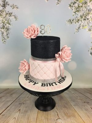 Two Tier Black Amp Pink Cake Mel S Amazing Cakes