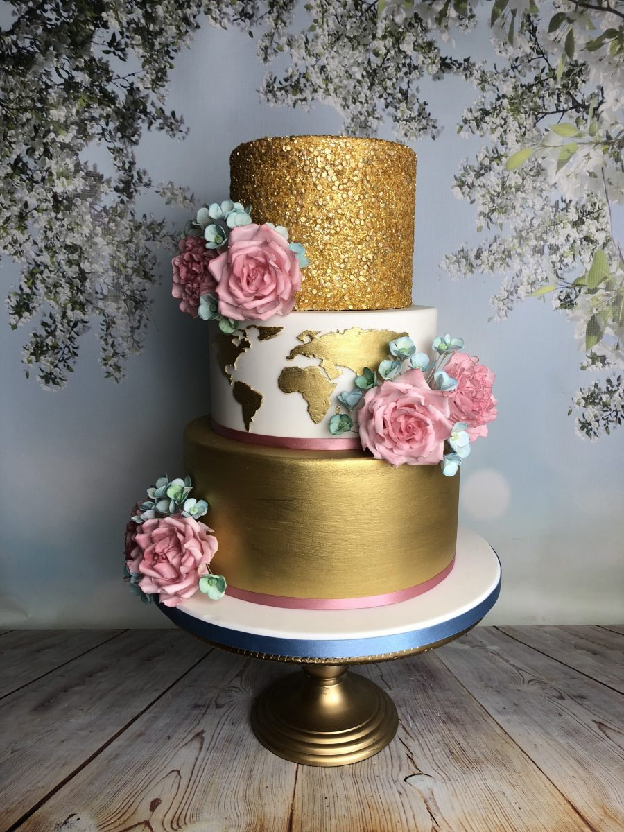 Gold & White Wedding Cake - Mel\'s Amazing Cakes