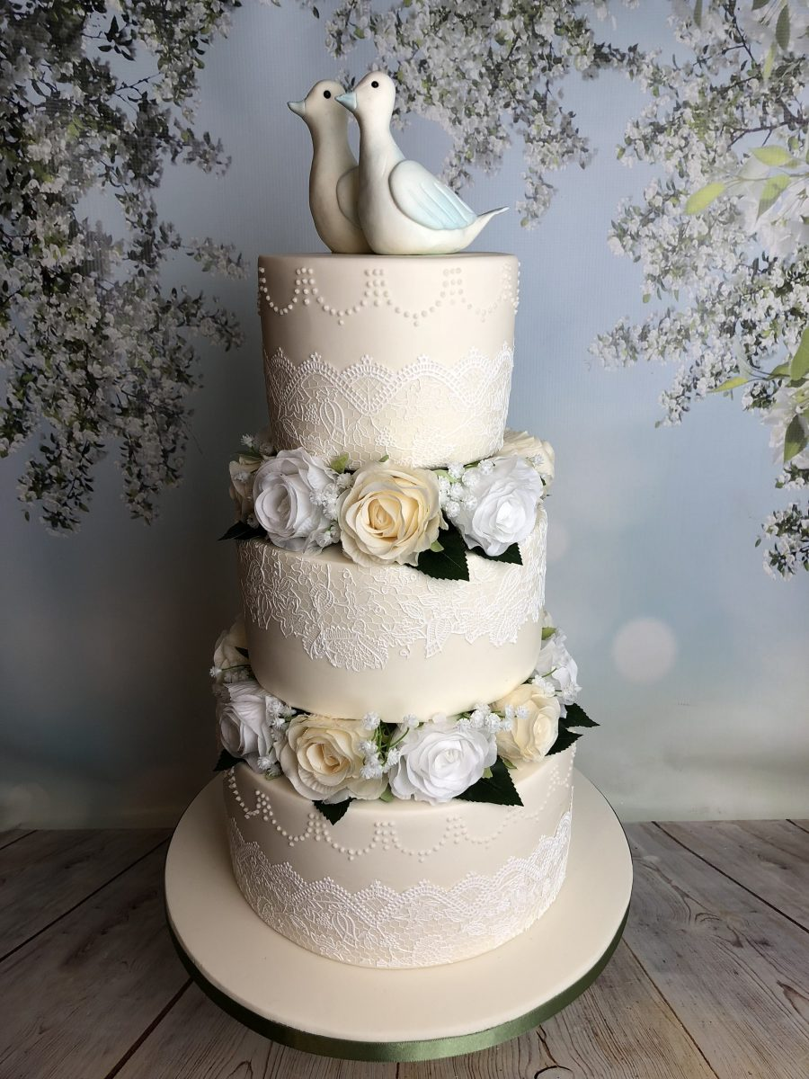 Three Tiered Wedding Cake With Silk Flowers Mels Amazing Cakes
