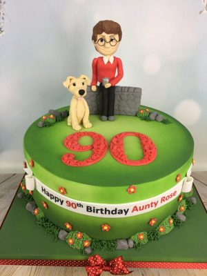 90th Birthday Cake With Dog Walk Theme Garden