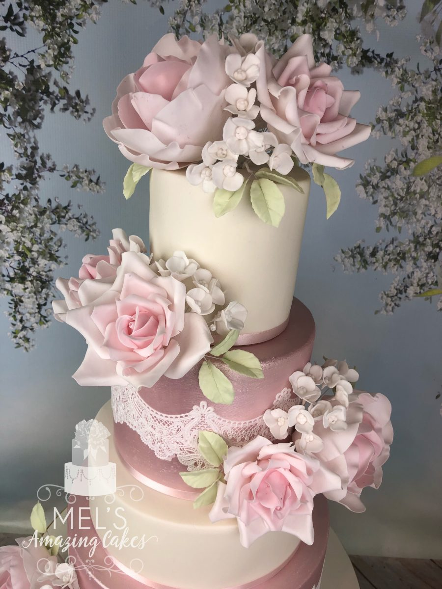 Silk Flower and Lace Wedding Cake
