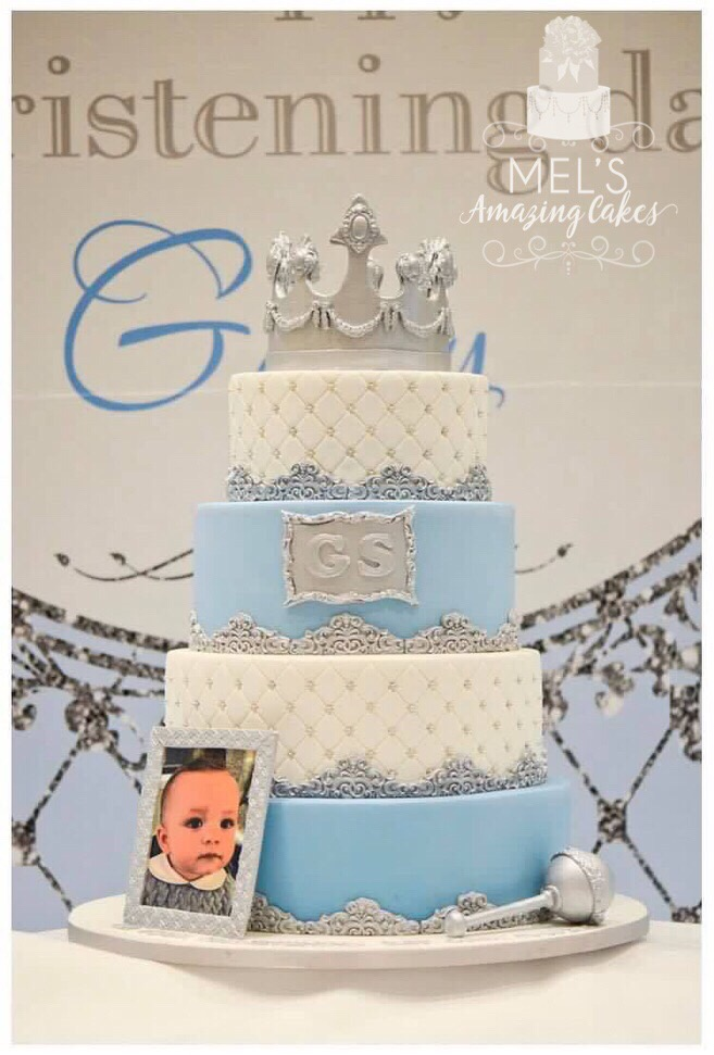 White & Pale Blue Christening Cake