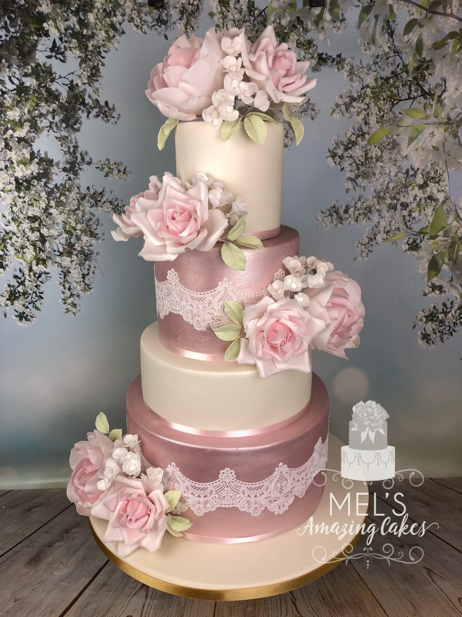4 Tier Silk Flower Wedding Cake Mel S Amazing Cakes