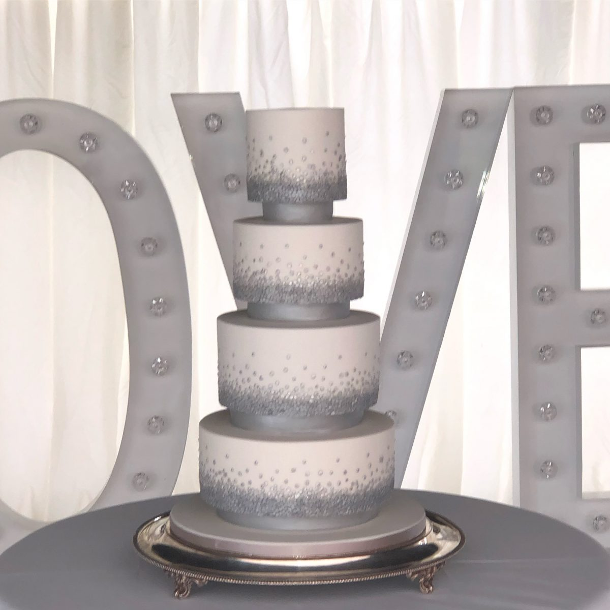 Modern Sequined Wedding Cake