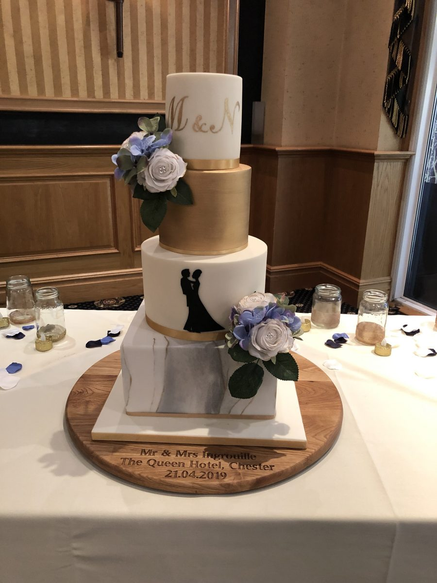 Marble and Silhouette Wedding Cake